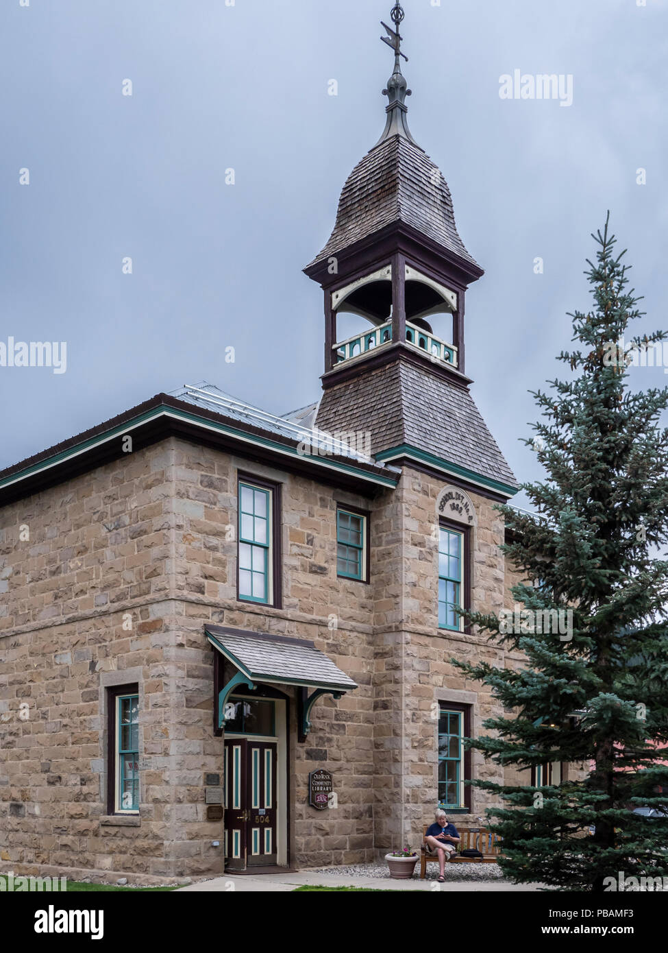 Old Rock School, now the Old Rock Community Library, Crested Butte, Colorado. - Stock Image