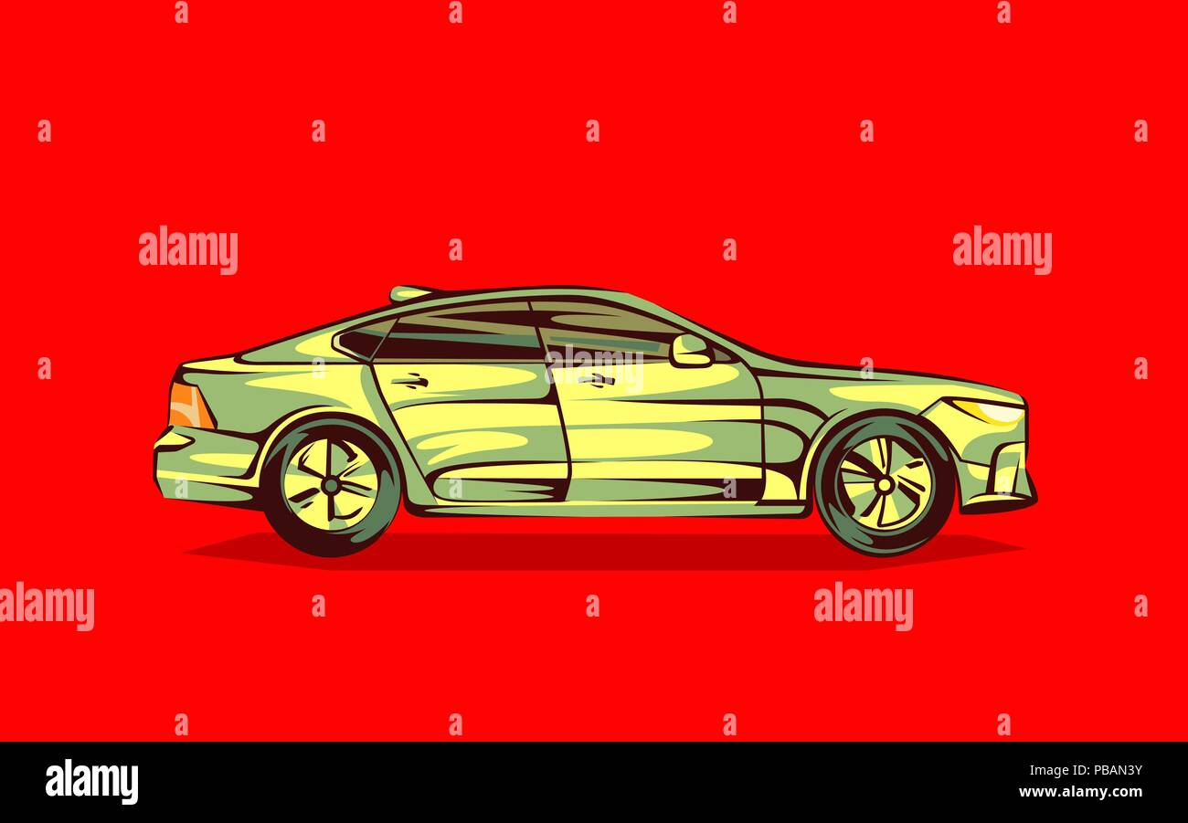 Modern car in cartoon style. Isolated vector object - Stock Vector
