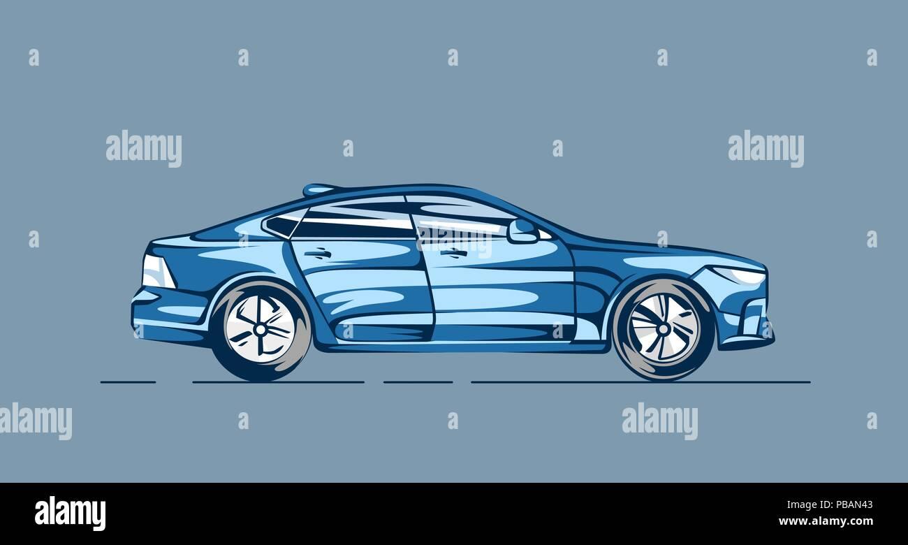 Modern car in cartoon style. Vector illustration - Stock Vector
