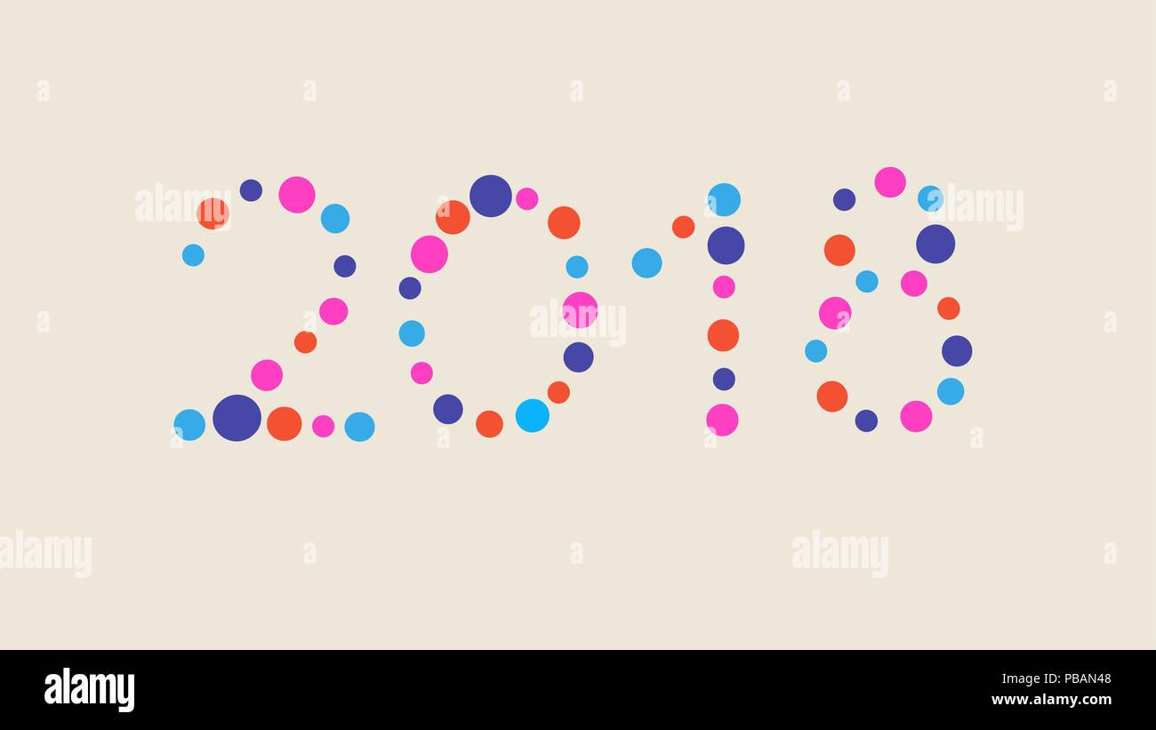 2018 confetti composed new year vector number