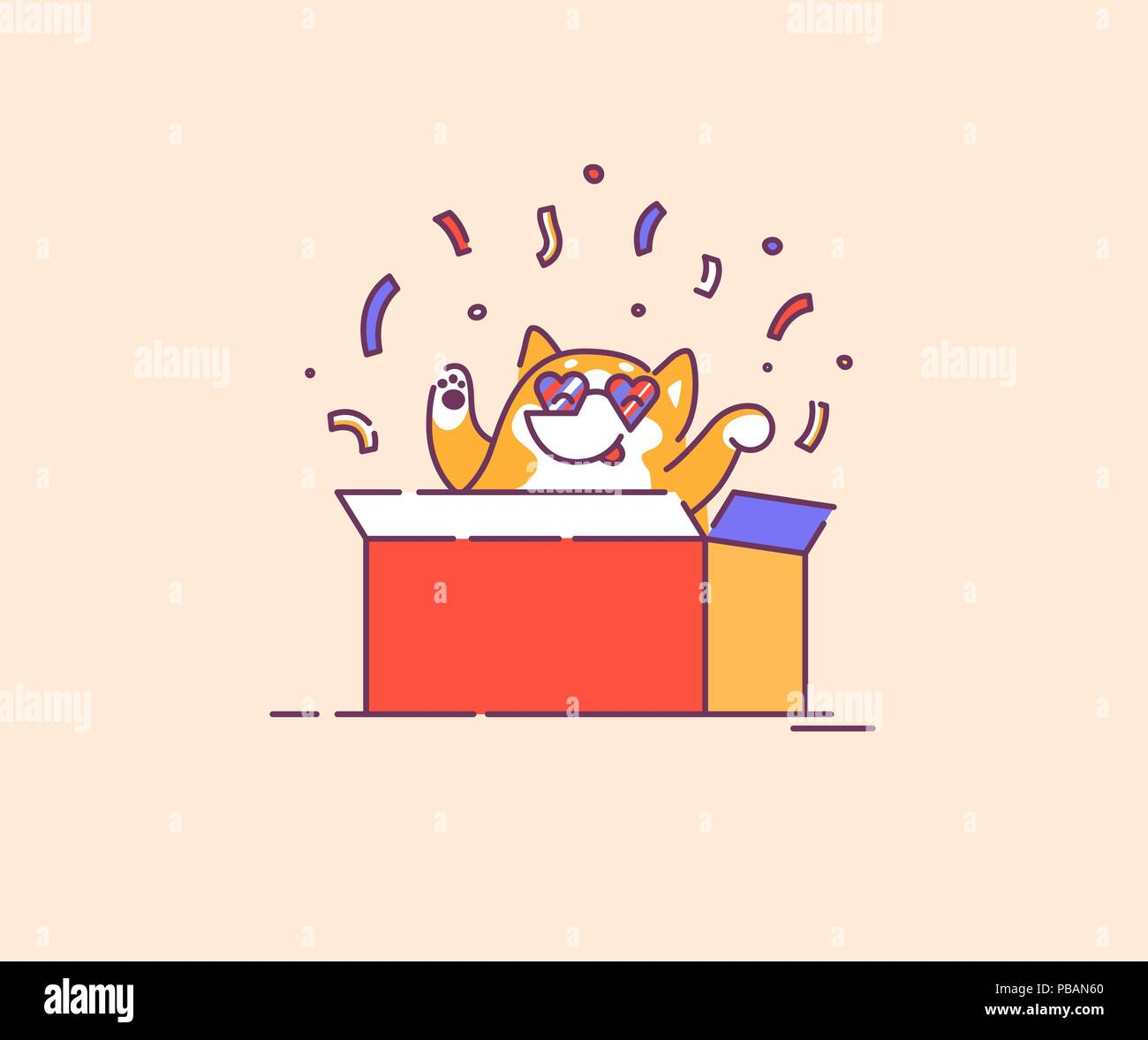 Dog appears from a box. Flat vector illustration - Stock Vector