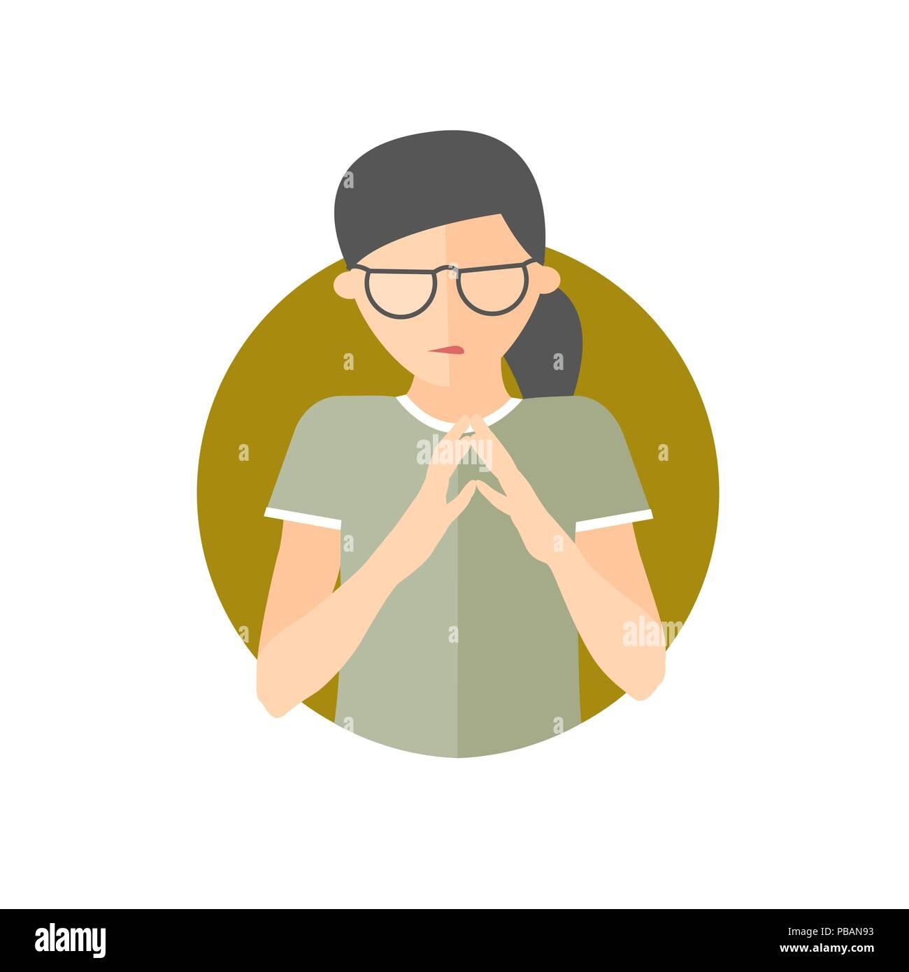 Insidious, envious, jealous woman, flat vector icon - Stock Vector