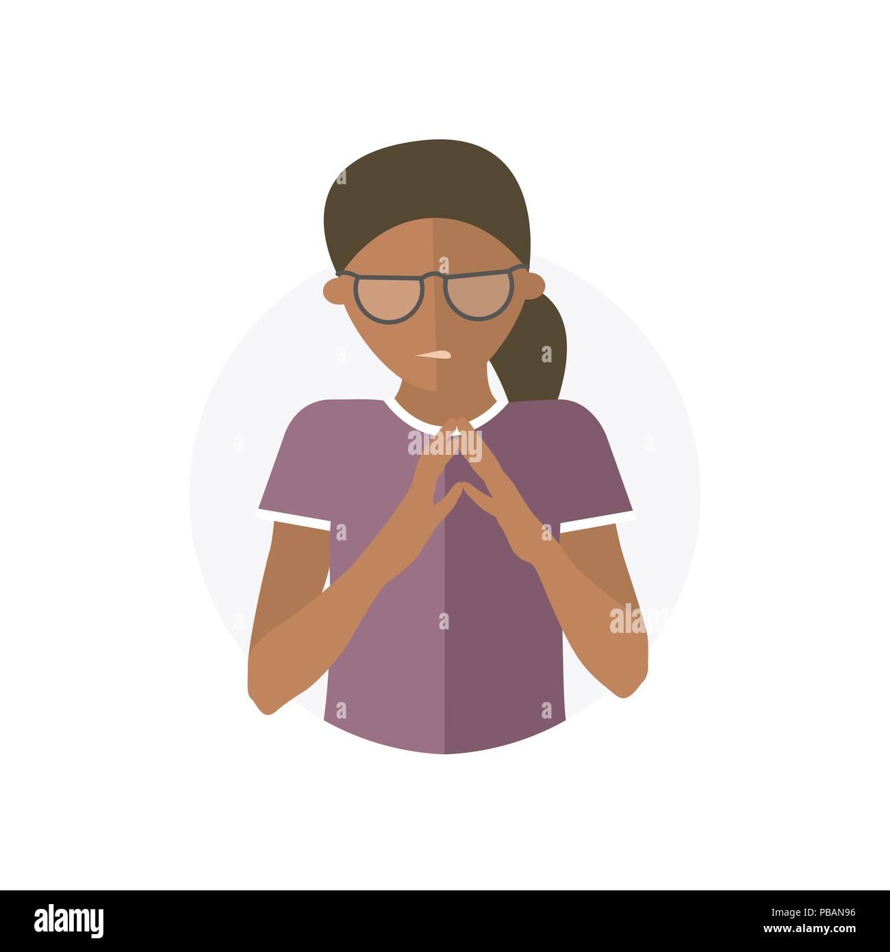 Insidious, envious black woman, flat vector icon - Stock Vector