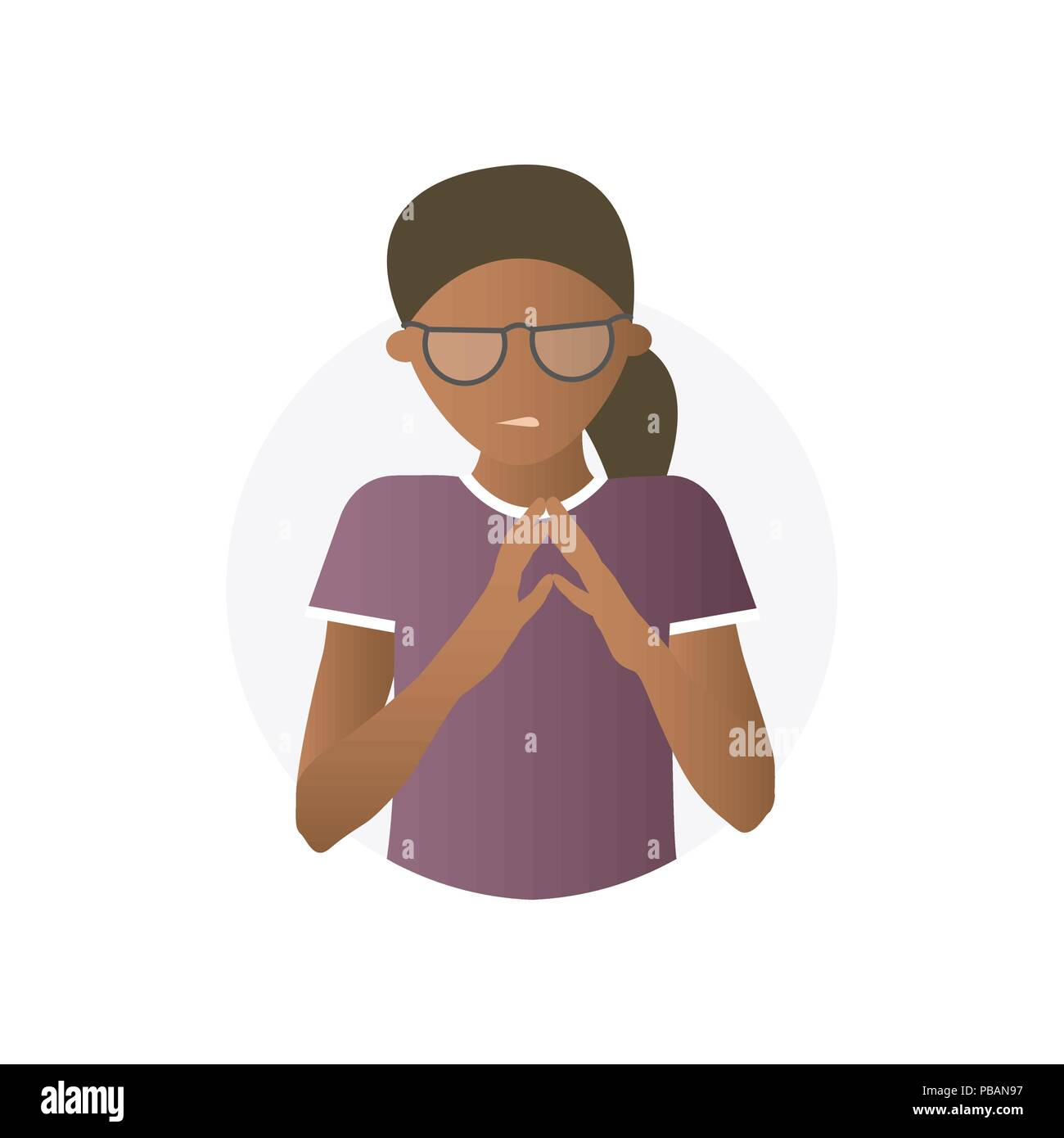 Insidious black woman, flat gradient vector icon - Stock Vector