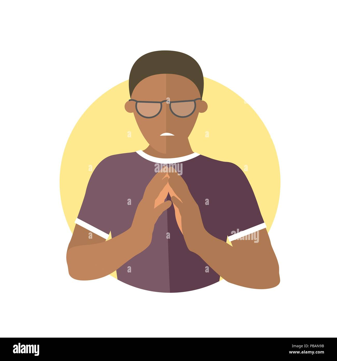 Insidious and revengeful black man in glasses, envious guy. Flat design icon. Evil, vengeful emotion. Simply editable isolated on white vector sign - Stock Vector