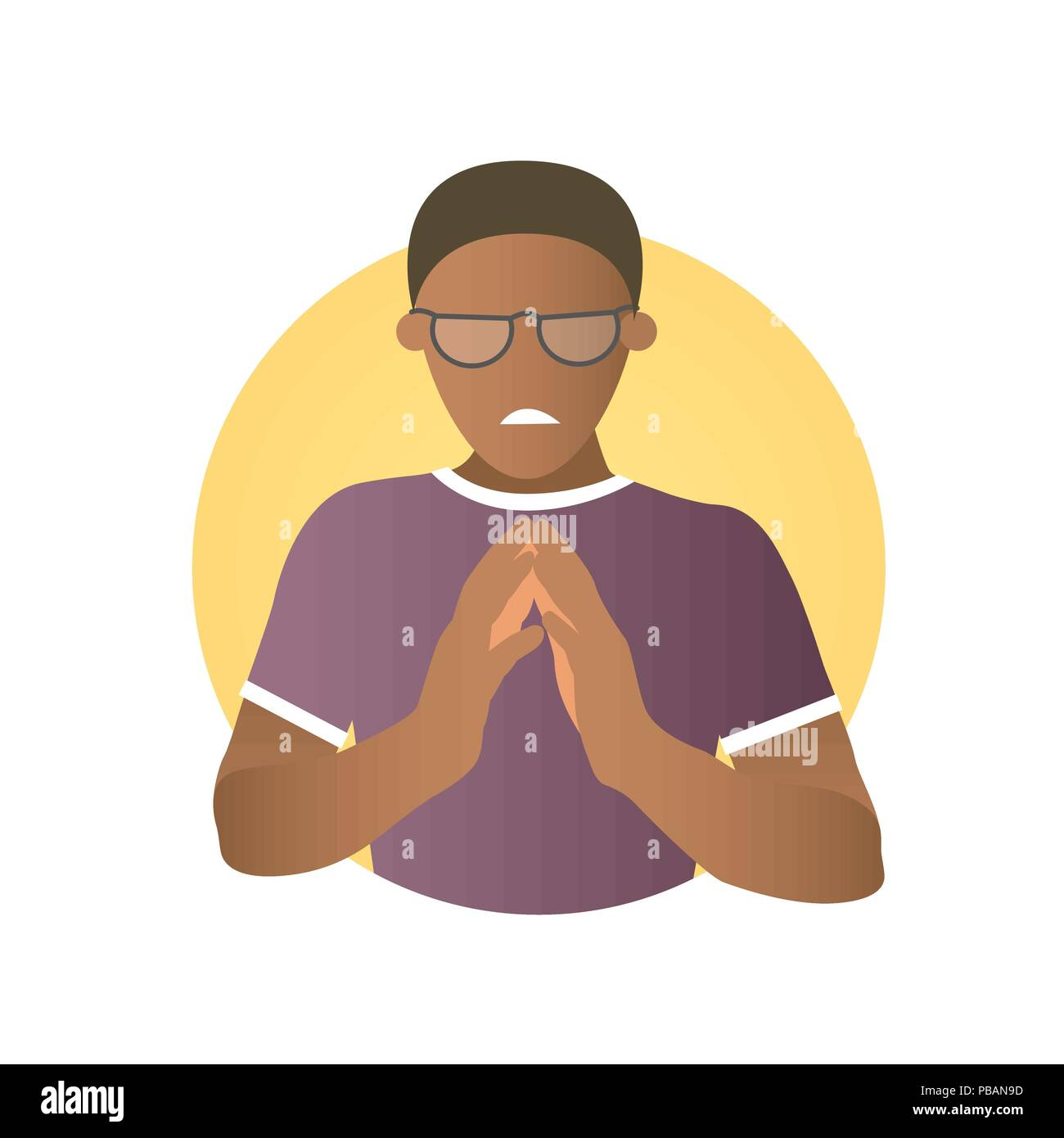 Insidious and revengeful black man in glasses, envious guy. Flat gradient design icon. Evil, vengeful emotion. Simply editable isolated on white vecto - Stock Vector