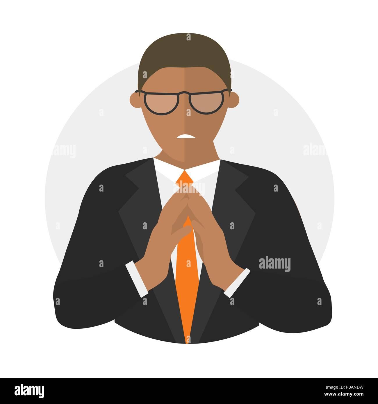 Insidious, envious, evil businessman flat design icon - Stock Vector