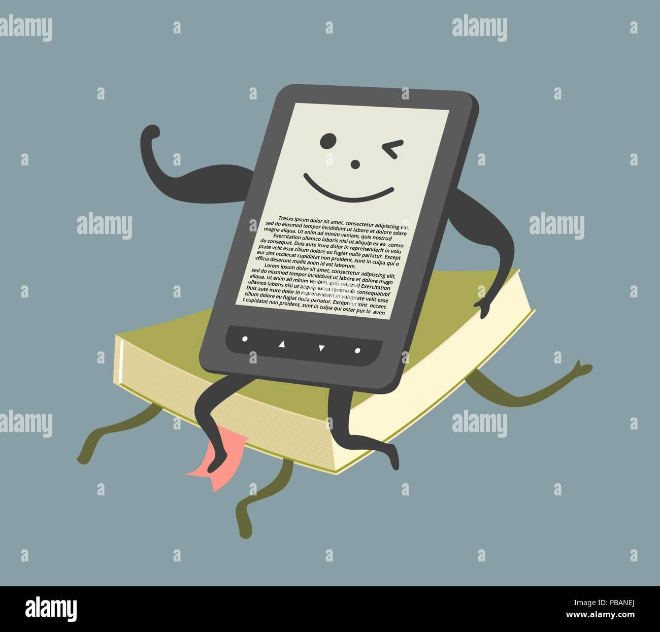 E-book overcame paper book, comic vector illustration - Stock Image