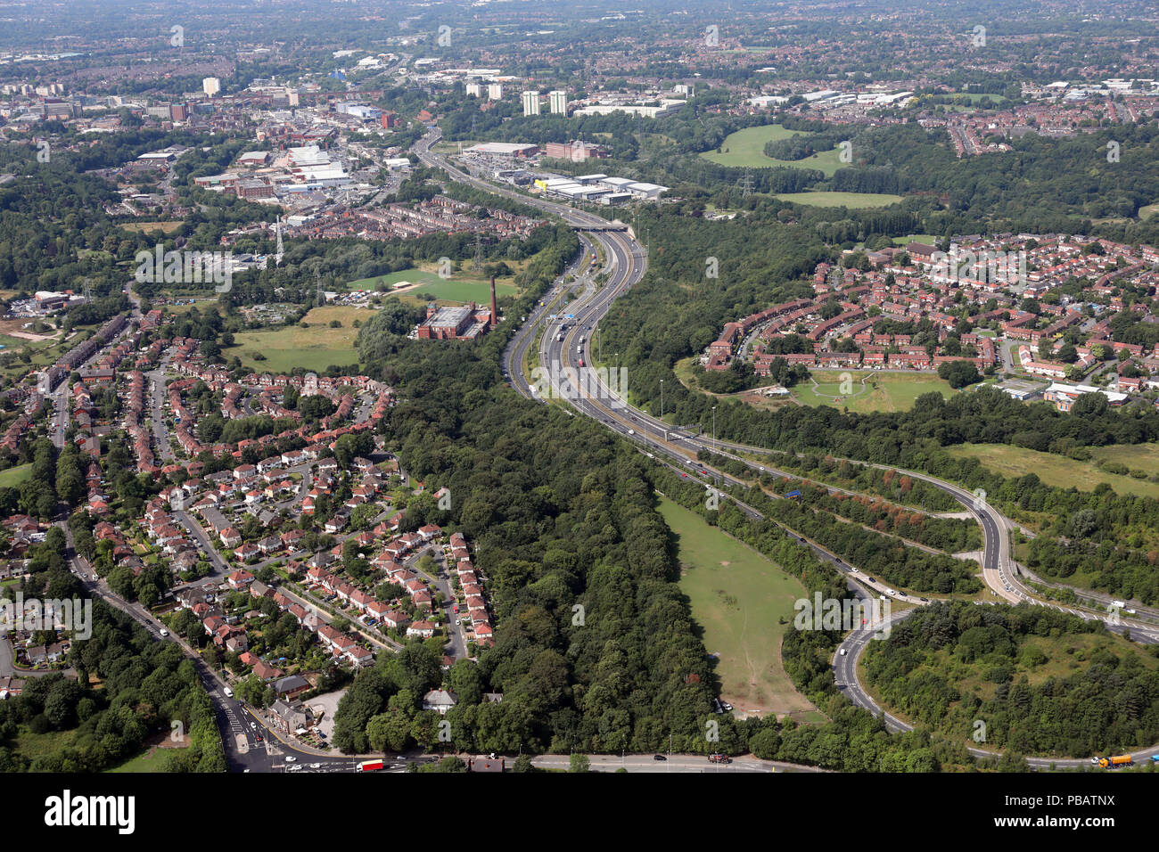 aerial view of junction 25 of the M60 motorway at Stockport, Manchester, UK - Stock Image