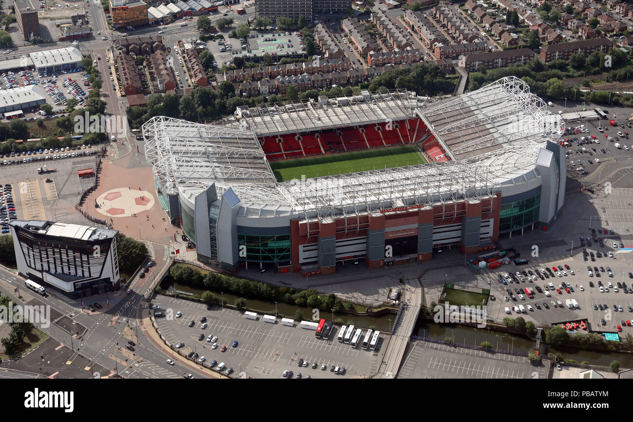 aerial view of Manchester United Old Trafford football ground stadium, Manchester - Stock Image