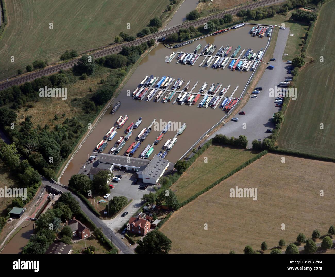 aerial view of Venetian Marina near Nantwich, Cheshire - Stock Image