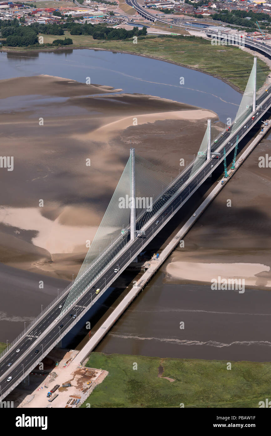 aerial view of the Mersey Gateway river crossing bridge at Runcorn, July 2018 - Stock Image