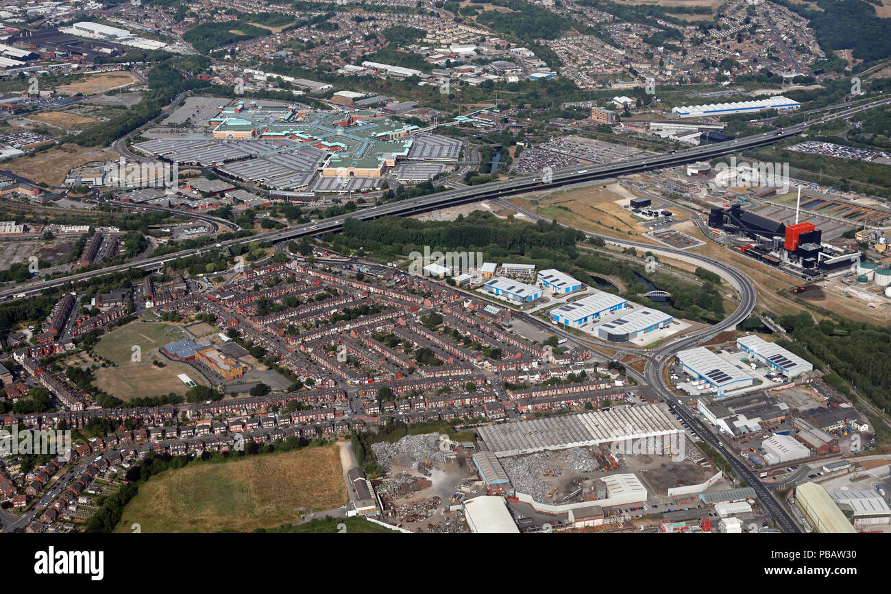 aerial view of the Meadowhall Shopping Centre with the new link road Blackburn Meadows Way prominent in the foreground, Sheffield, UK - Stock Image