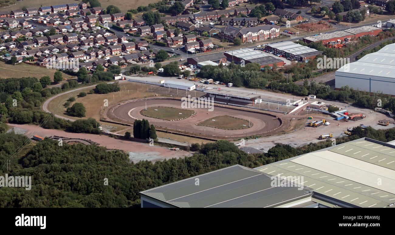 aerial view of Stoke Speedway Stadium, Staffs - Stock Image