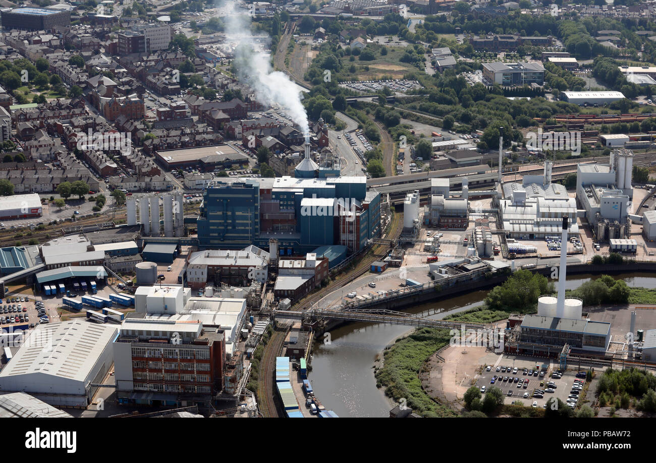 aerial view of a factory, possibly Unilever, in Warrington, Cheshire - Stock Image