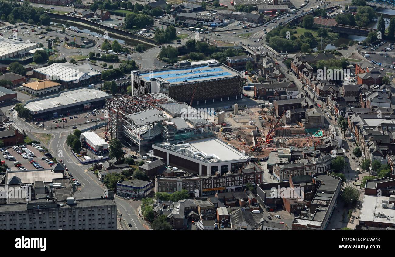 aerial view of new development around Academy Street, Warrington town centre, UK - Stock Image