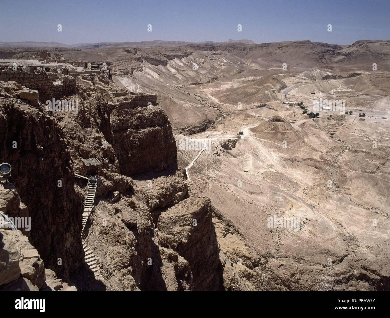 ASCENSO A LA MESETA DONDE SE ENCUENTRA LA CIUDAD FORTIFICADA EN EL AÑO 100 AC. Location: EXTERIOR, MASADA, ISRAEL. - Stock Image