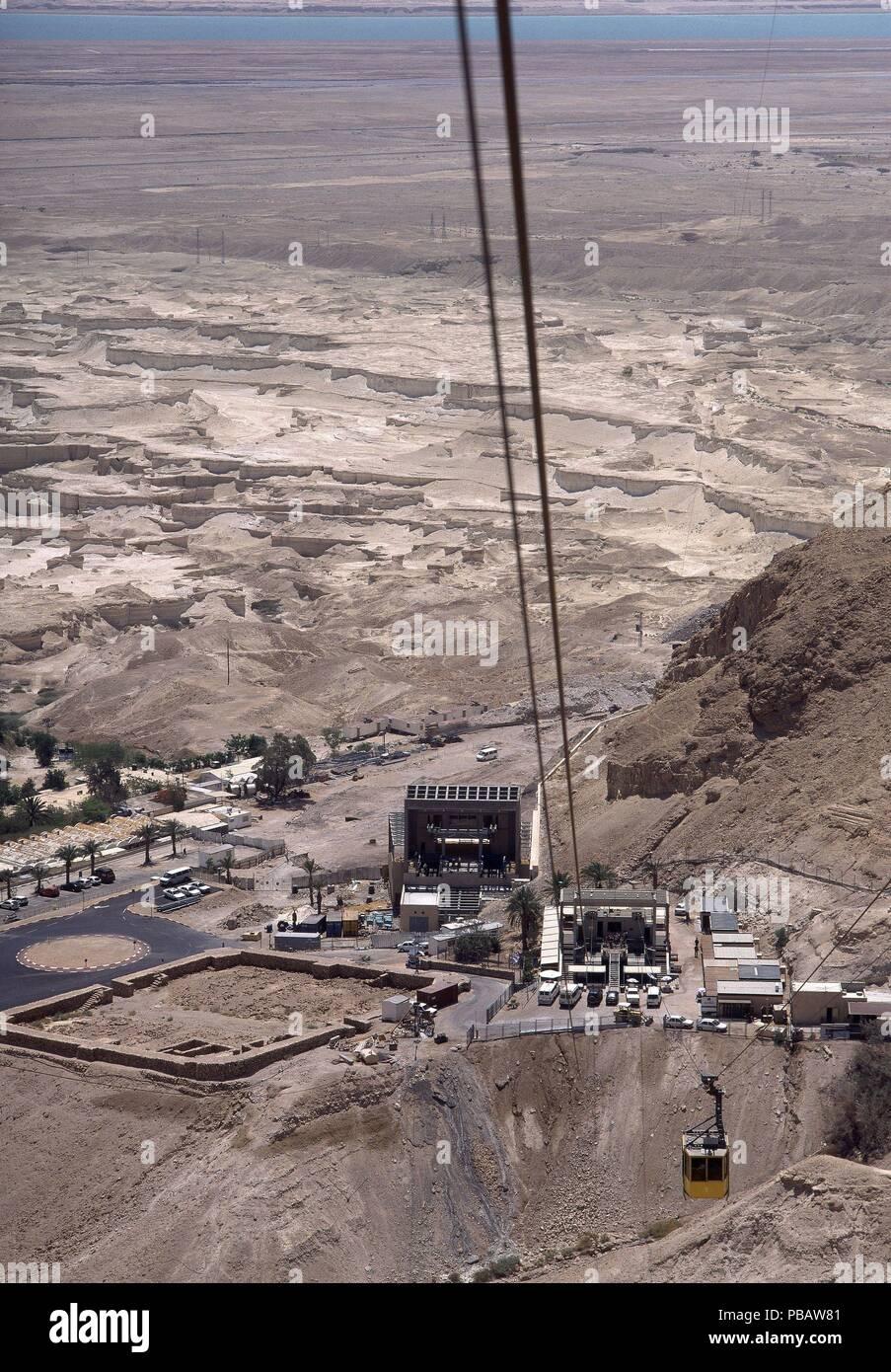 VISTA DESDE LA CIUDAD FORTIFICADA -TELEFERICO DE SUBIDA. Location: EXTERIOR, MASADA, ISRAEL. - Stock Image