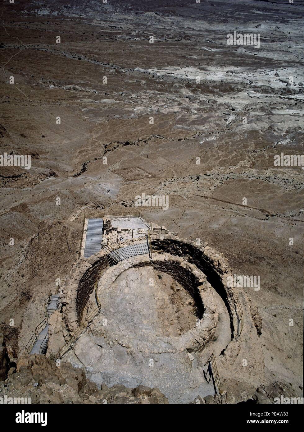 RESTOS DE TORREON EN LA MURALLA-CIUDAD FORTIFICADA EN EL AÑO 100 AC. Location: EXTERIOR, MASADA, ISRAEL. - Stock Image