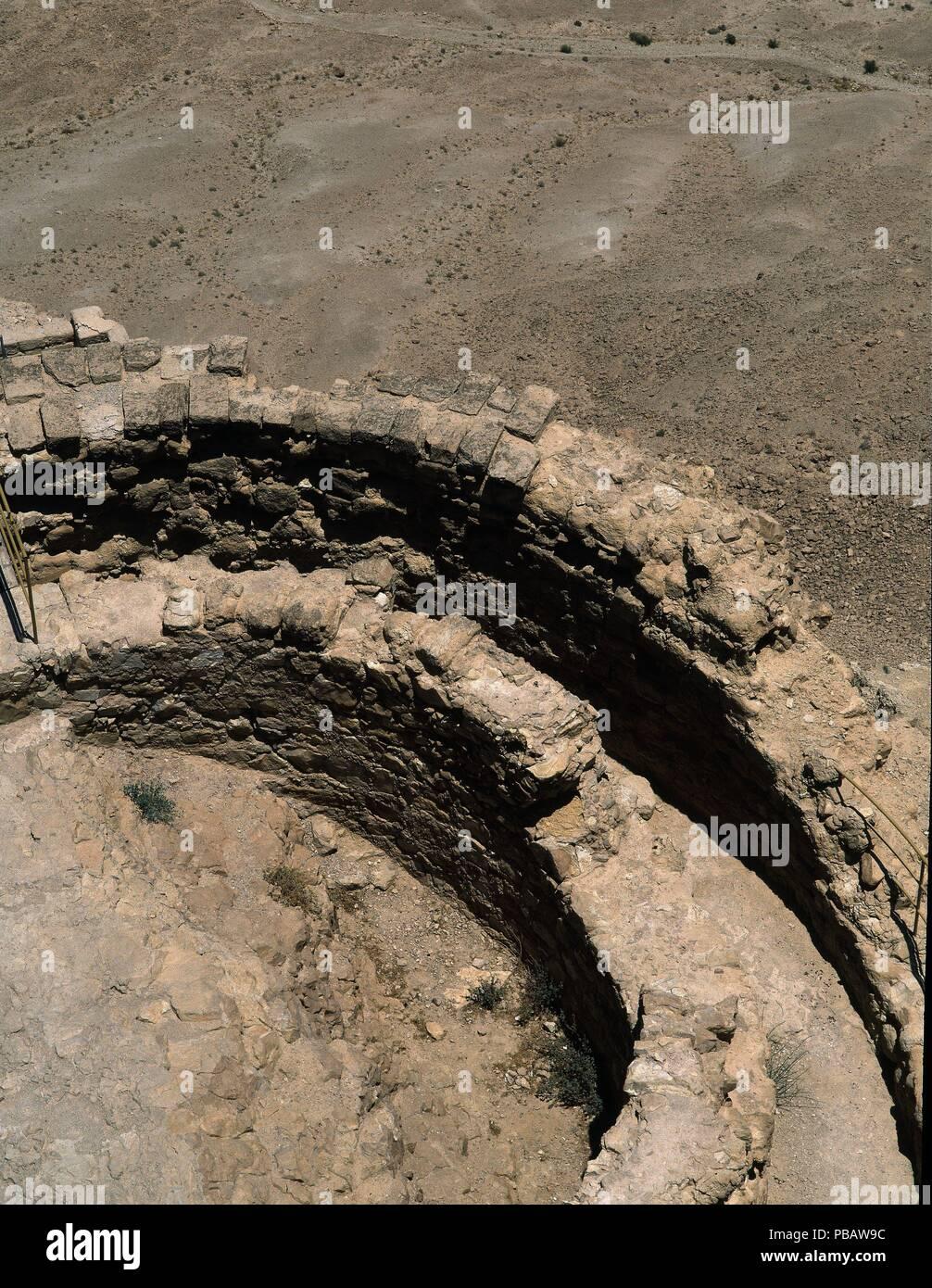 DET-RESTOS DE TORREON EN LA MURALLA-CIUDAD FORTIFICADA EN EL AÑO 100 AC. Location: EXTERIOR, MASADA, ISRAEL. - Stock Image