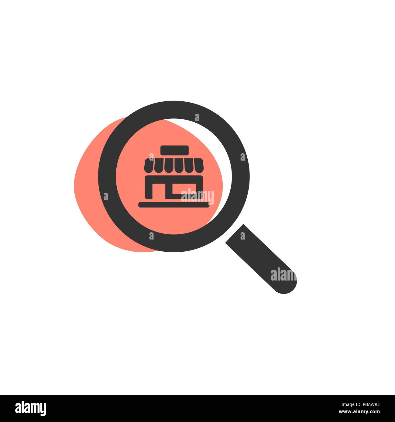 Magnifying glass looking for a shop isolated web icon. Vector illustration Stock Vector