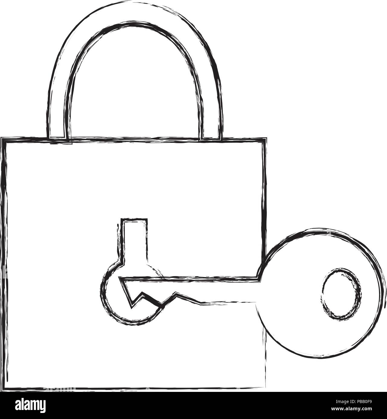 safe secure padlock with key - Stock Image