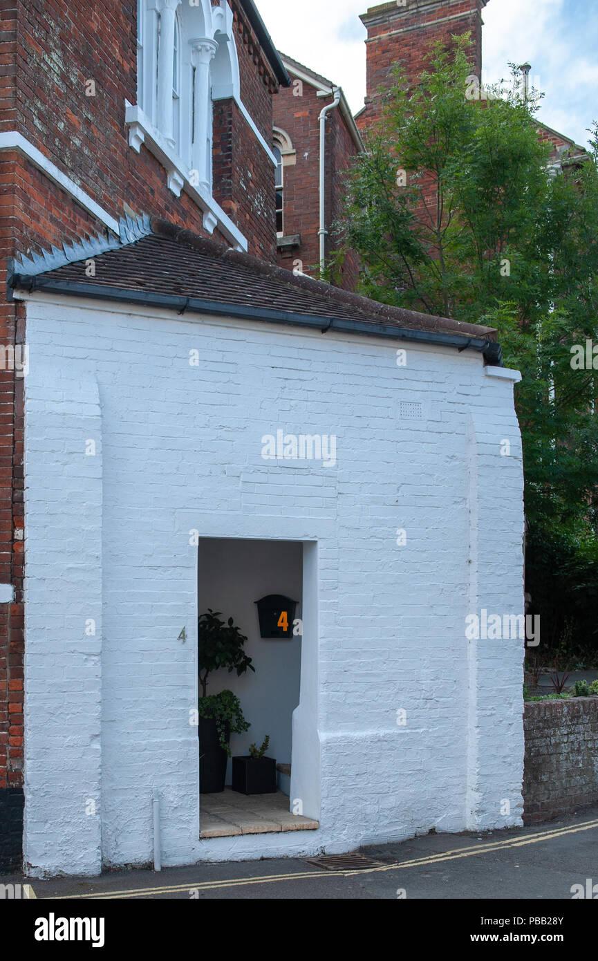 Unusual entrance to house in Westbury, Wiltshire, UK - Stock Image