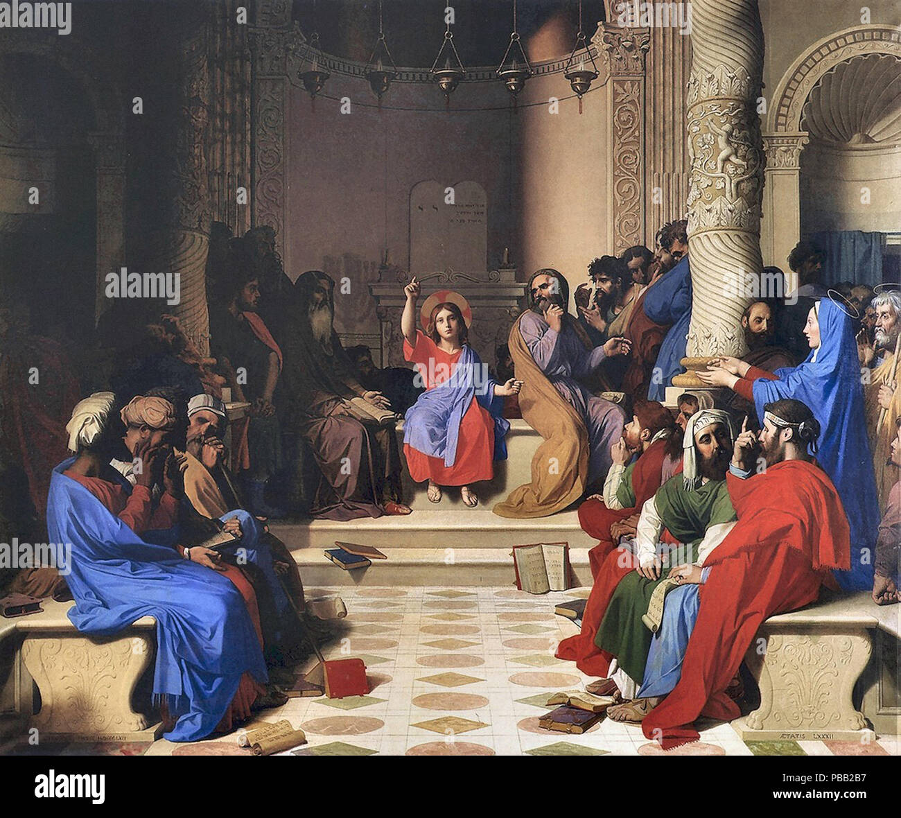Ingres  Jean Auguste Dominique - Jesus Among the Doctors - Stock Image