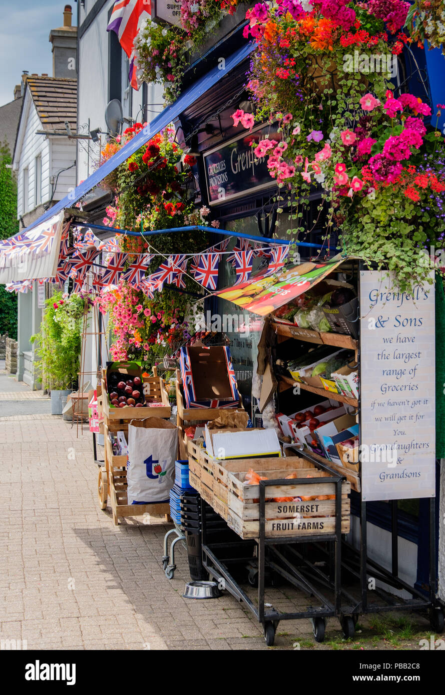 Greengrocers shop in the High Street, Crickhowell, Powys, Wales - Stock Image