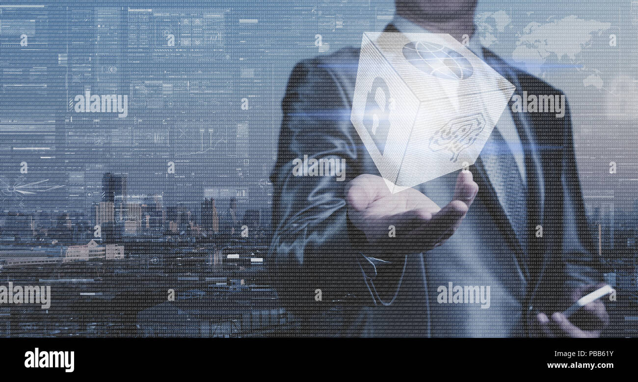 Businessman work with block of binary numeral system of AI, Network Security and globalization system - Stock Image
