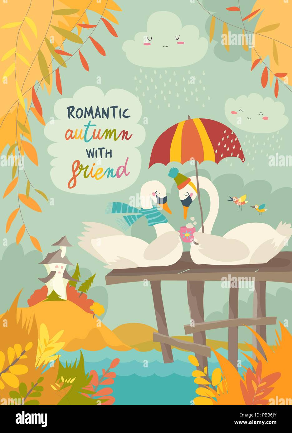 Romantic Cartoon Couple In Rain Stock Photos Romantic Cartoon