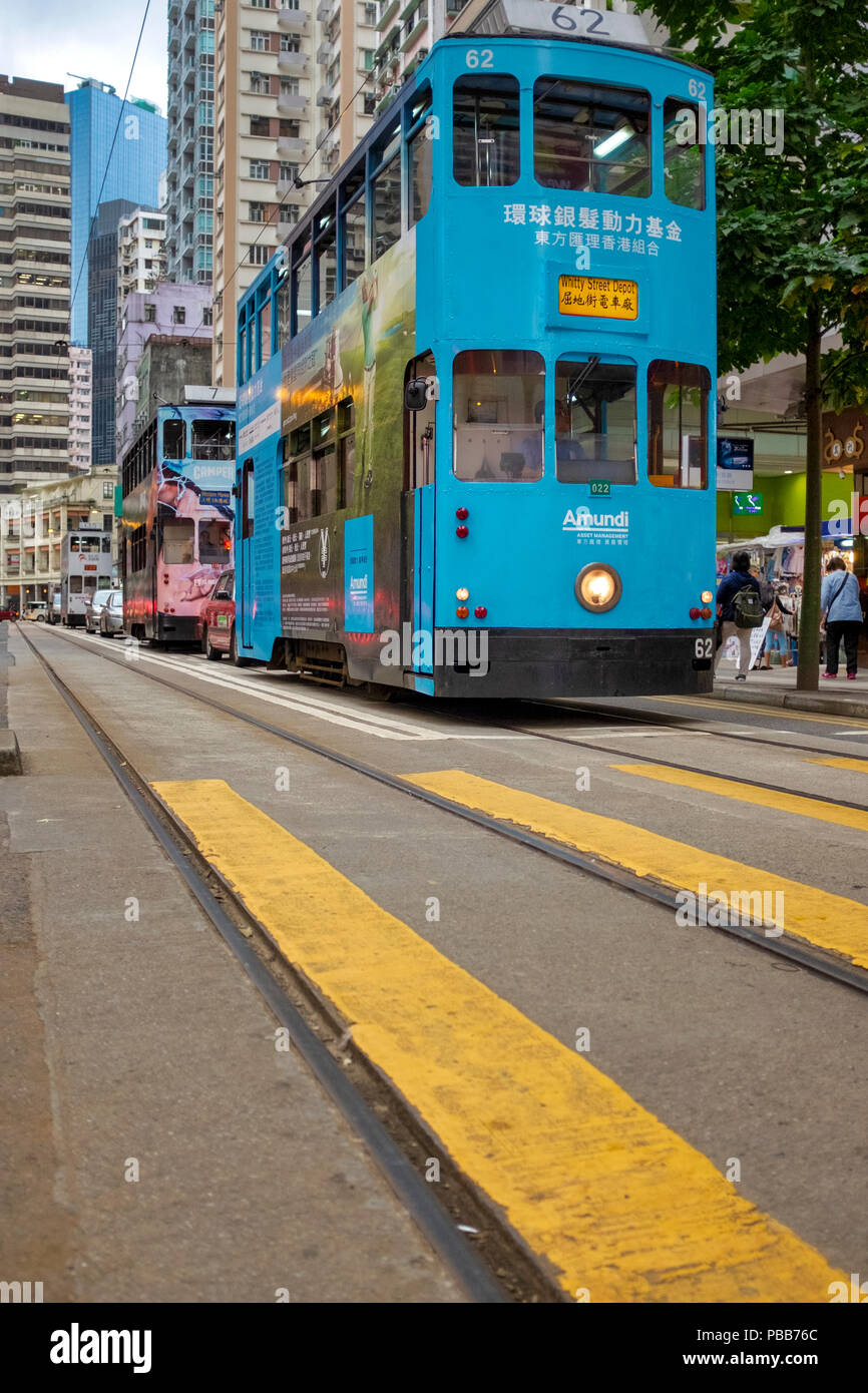 A Hong Kong double-decker tram in Hennessy Road, Hong Kong Island, China - Stock Image