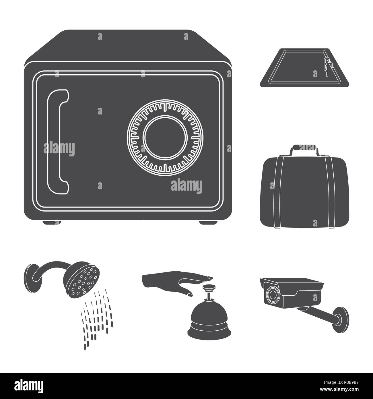 Hotel And Equipment Black Icons In Set Collection For Design Hotel