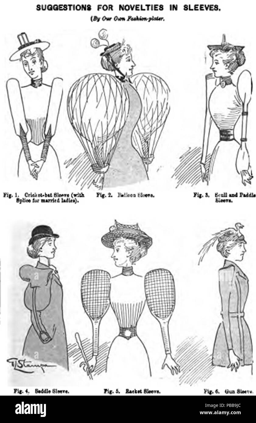 . Cartoon lampooning Victorian era women's fashion from (1895-12-28). 'Punch: Or the London Charivari'. Error: journal= not stated CIX: 264. London: Bradbury, Agnew, & Co. LD., Printers.. 1895 1120 Novelty in sleeves (Punch magazine cartoon 1895) - Stock Image