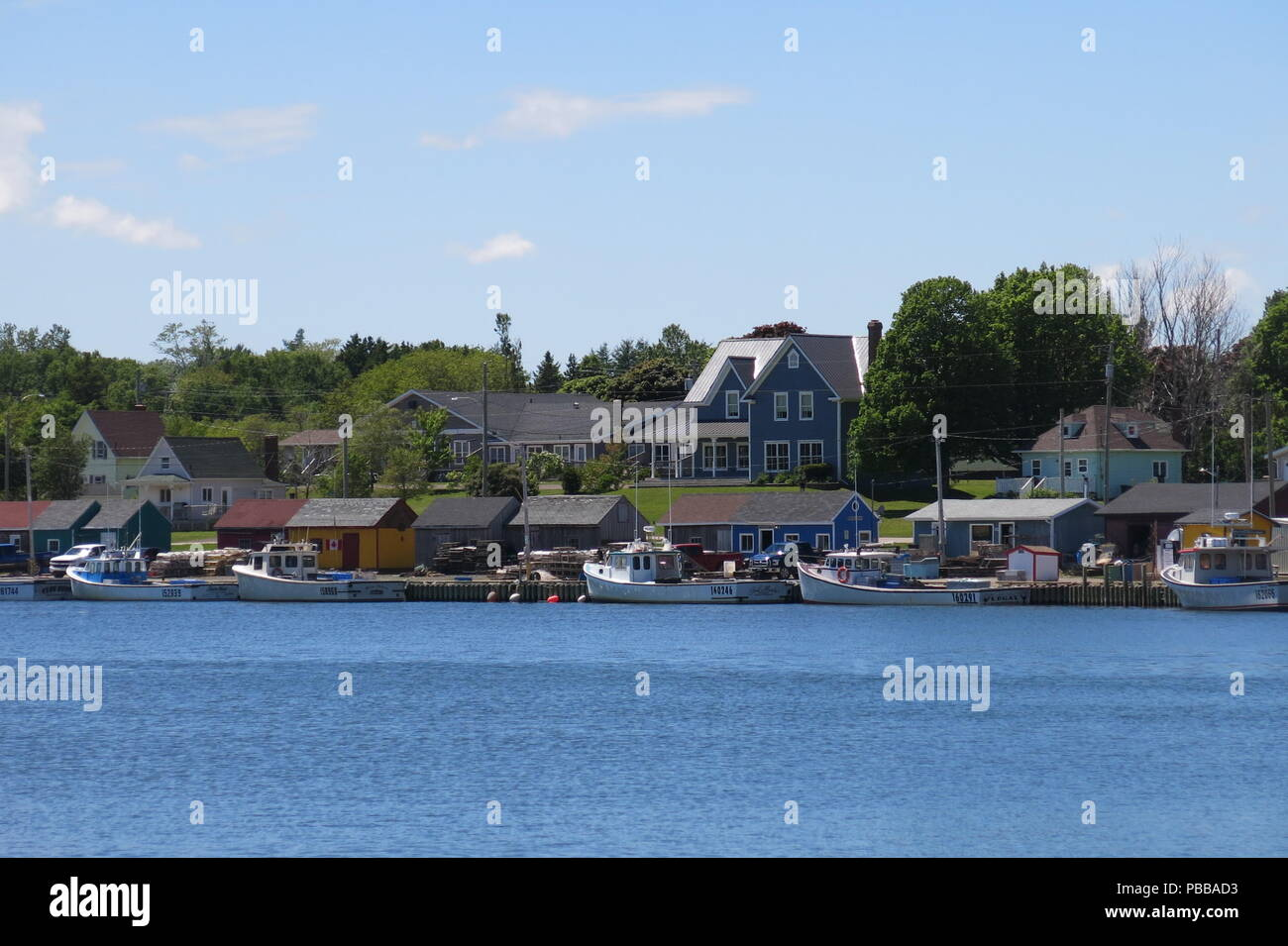 View of the waterfront at North Rustico, a popular tourist destination in summer months; Prince Edward Island - Stock Image