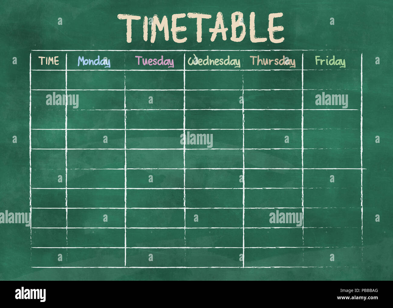 school timetable or class schedule on green chalkboard - Stock Image