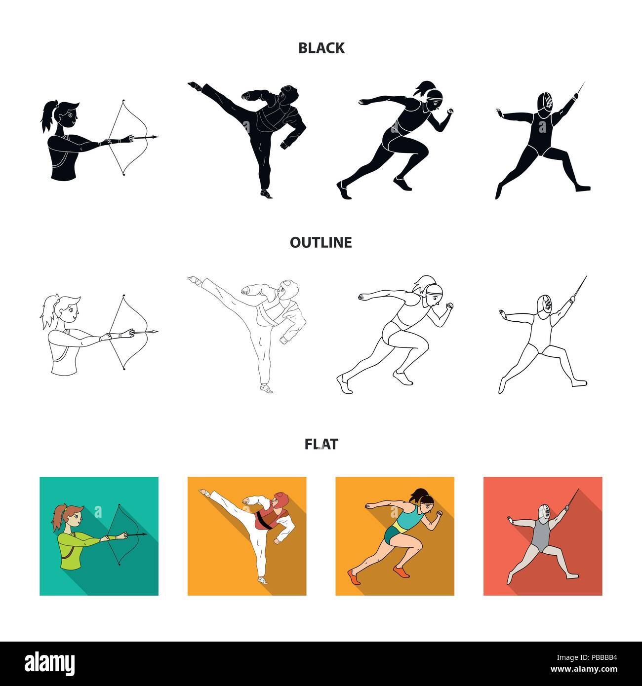 Archery, karate, running, fencing. Olympic sport set collection icons in black,flat,outline style vector symbol stock illustration . - Stock Vector