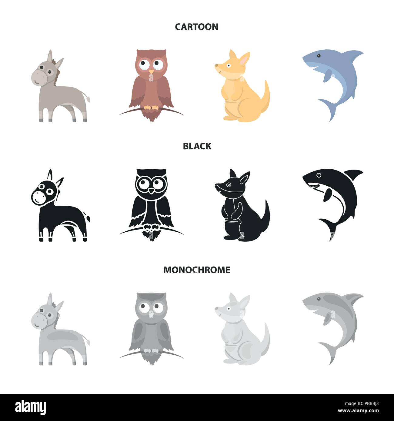 Donkey, owl, kangaroo, shark.Animal set collection icons in cartoon,black,monochrome style vector symbol stock illustration . - Stock Image