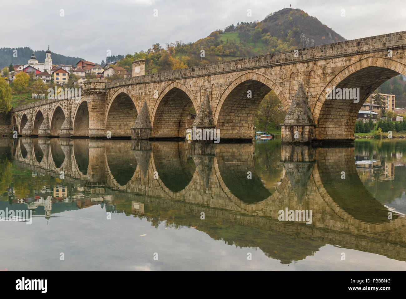 Visegrad, Bosnia & Herzegovina - the Mehmed Paša Bridge is one of the main landmarks in the country, and Visegrad one of the pearls of the Balkans - Stock Image