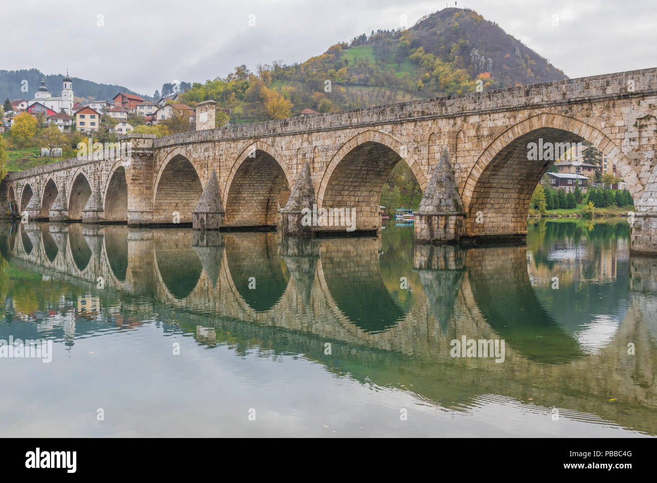 Visegrad, Bosnia & Herzegovina - the Mehmed Paša Bridge is one of the main landmarks in the country, and Visegrad one of the pearls of the Balkans - Stock Image
