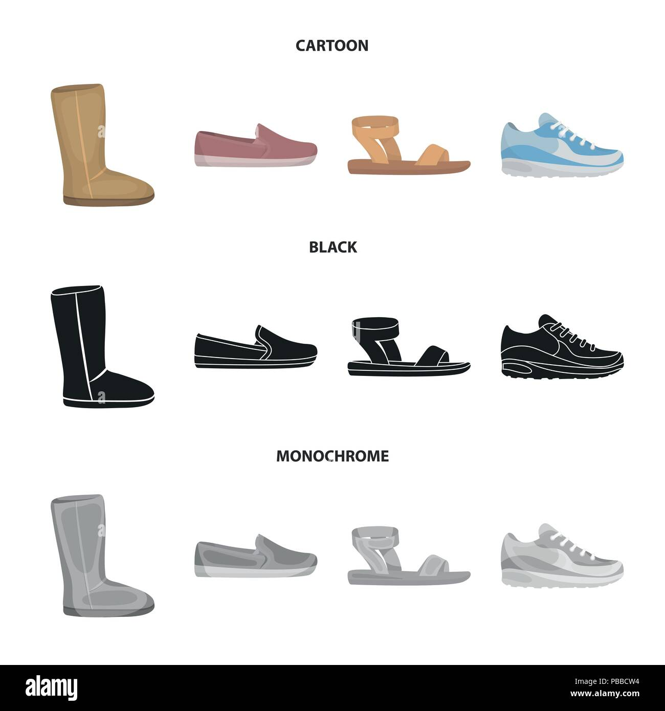 Beige ugg boots with fur, brown loafers with a white sole, sandals with a fastener, white and blue sneakers. Shoes set collection icons in cartoon,bla