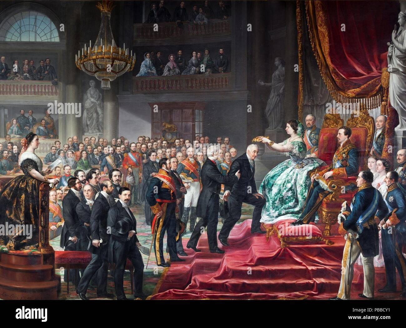 Luis López Piquer / 'The Coronation of the Quintana'. 1859. Oil on canvas. Museum: Museo del Prado, Madrid, España. - Stock Image