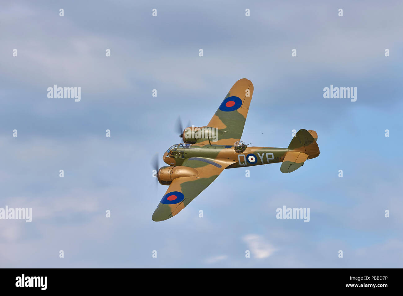 A top side view of a Bristol Blenheim Mk1 G-BPIV representing L6739 (YP-Q) a Blenheim Mk1F of 23 Squadron Stock Photo