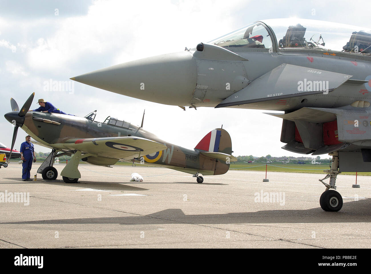 Second World War Hawker Hurricane R4118 with modern day jet fighter plane  Eurofighter Typhoon. Old 0b778fc92d89
