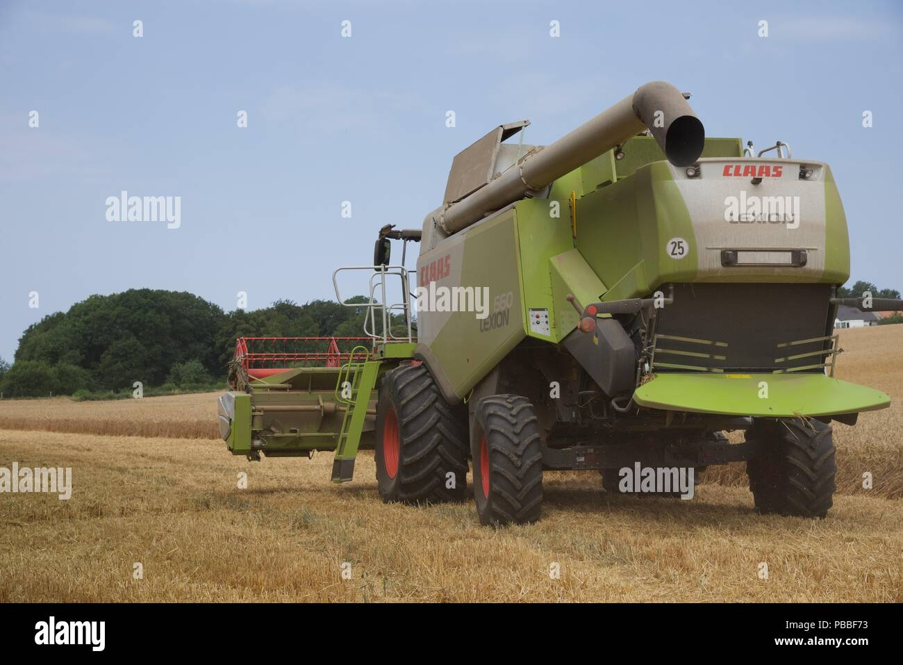 Wheat harvesting: the summer of 2018 and the crops of Pas-de-Calais are 15 days earlier than normal, a flurry of activity ensues to collect the grain - Stock Image