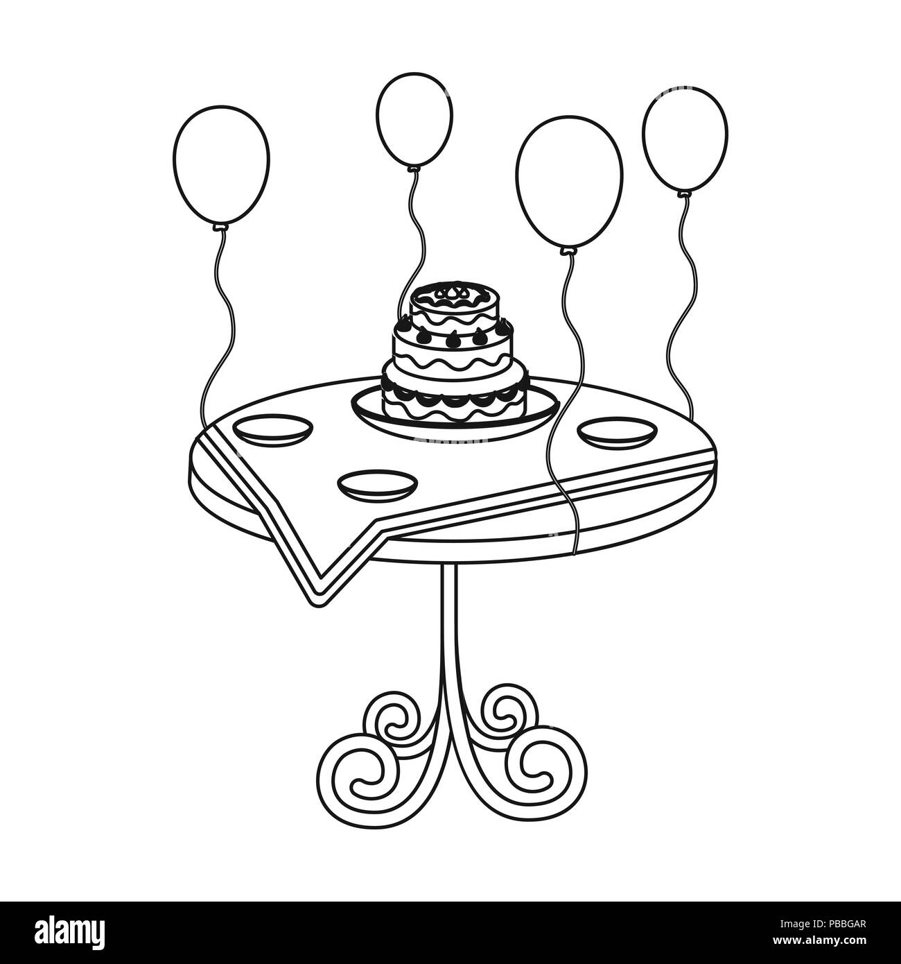 Birthday Cake On The Table Icon In Outline Style Isolated On White
