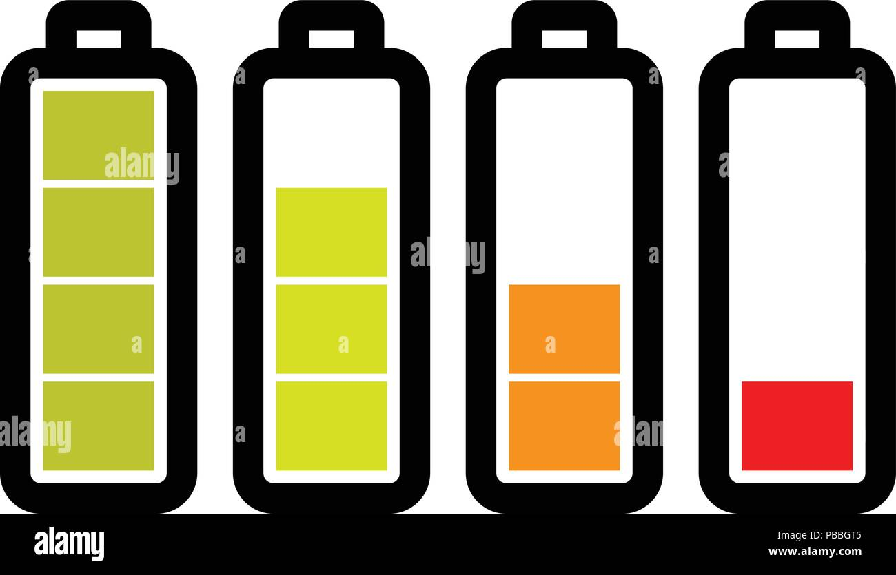 Level of the battery charge on white background - Stock Vector