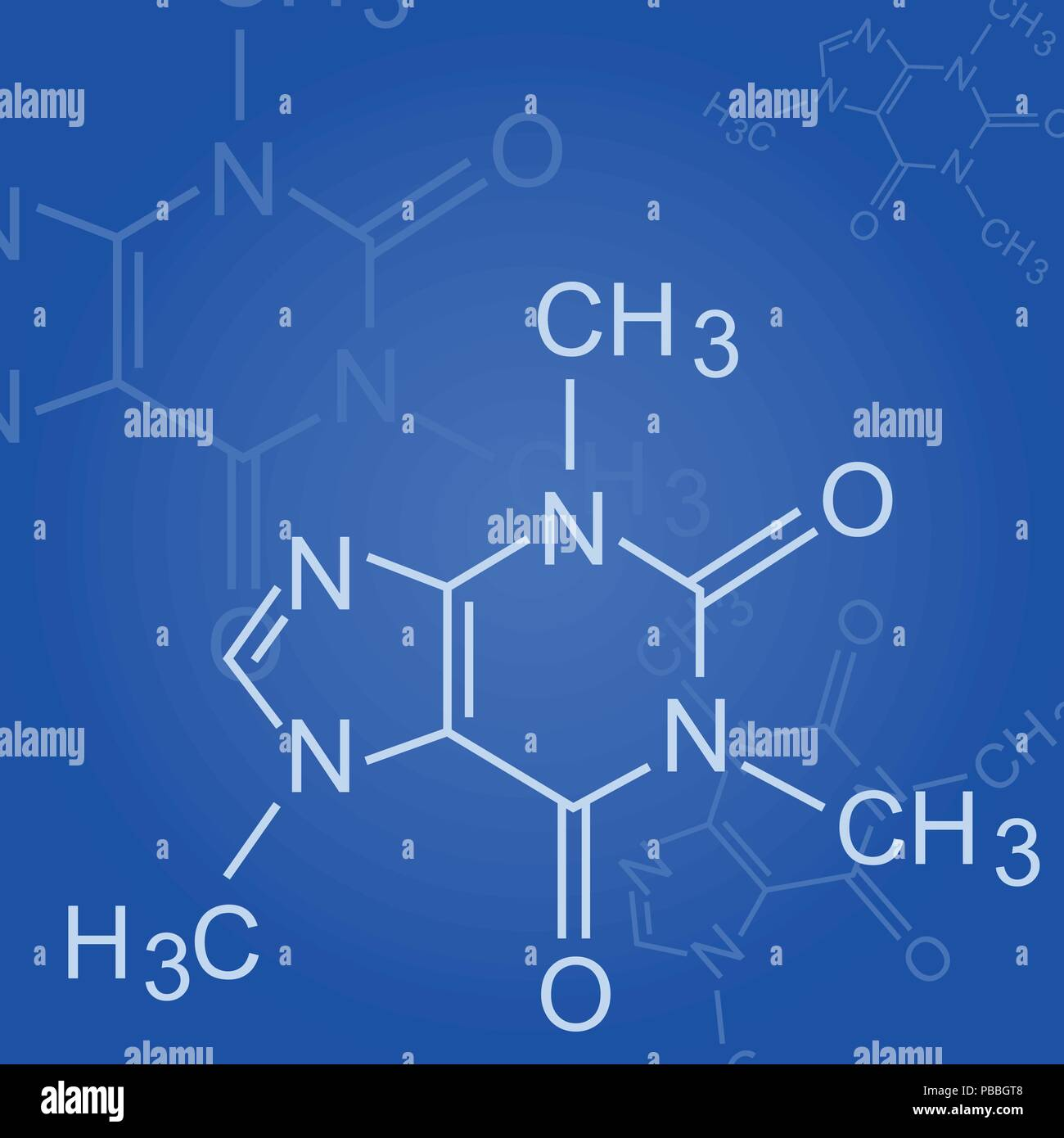 Chemical formula on blue background - formula of organic chemistry - Stock Vector