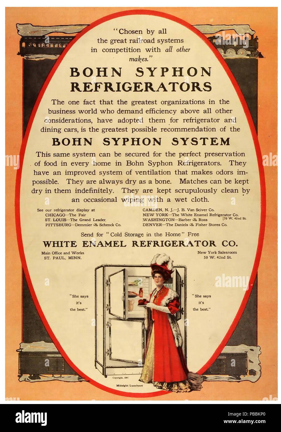 AMERICAN REFRIGERATOR ADVERT  1919 - Stock Image