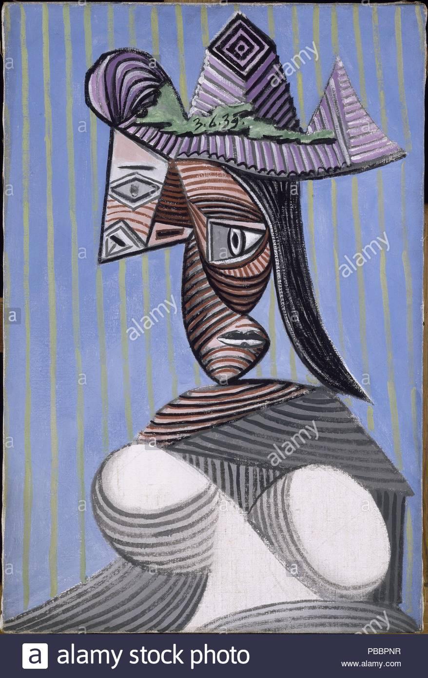 Buste de femme au chapeau rayé. Museum: Musée Picasso, Paris ...